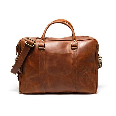 "Slim Leather Briefcase 15"" // Distressed Brown"