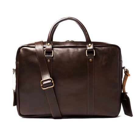"Slim Leather Briefcase 15"" // Antique Brown"