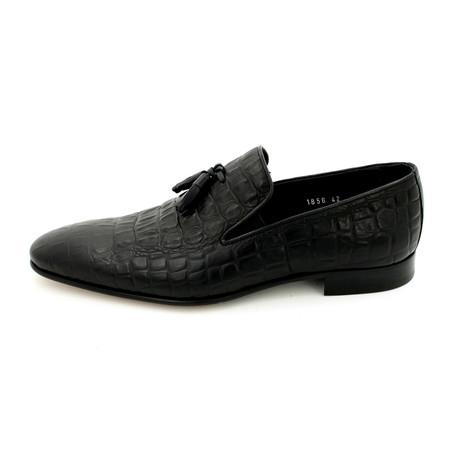 Tassel Croco Loafers // Black (Euro: 39)