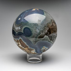 Large Natural Polished Agate Sphere + Acrylic Stand