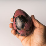 Polished Natural Imperial Rhodonite Egg + Acrylic Stand