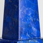 Large Genuine Lapis Lazuli Veneered Obelisk