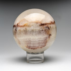 Polished Banded White Onyx Sphere + Acrylic Stand