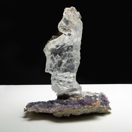 Natural Selenite Crystal on Amethyst Matrix