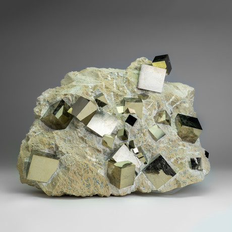 Natural Pyrite Cubes on Matrix