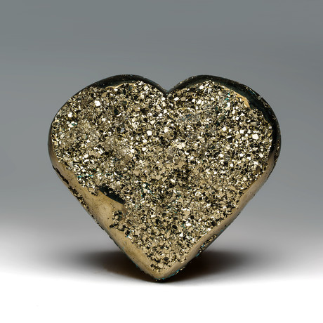 Large Natural Polished Pyrite Heart + Acrylic Stand