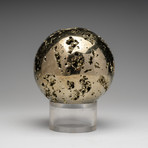Polished Natural Pyrite Sphere + Acrylic Stand