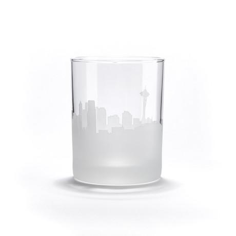 City Skyline Bar Glasses // Set of 4 // Seattle