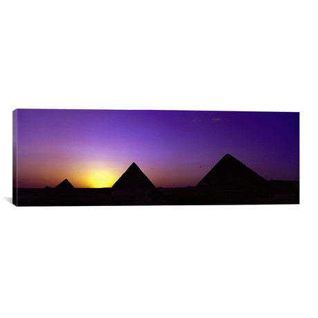 "Silhouette of pyramids at dusk, Giza, Egypt // Panoramic Images (36""W x 12""H x 0.75""D)"