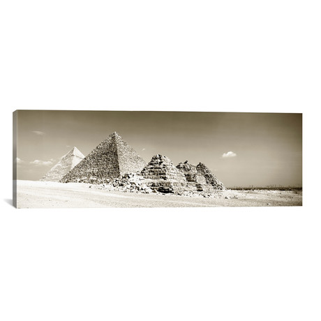 "Pyramids Of Giza, Egypt // Panoramic Images (36""W x 12""H x 0.75""D)"