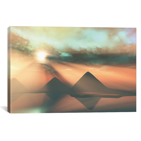 "Sunrays Shine Down On Three Pyramids Along The Nile River On The Giza Plateau // Corey Ford (18""W x 12""H x 0.75""D)"