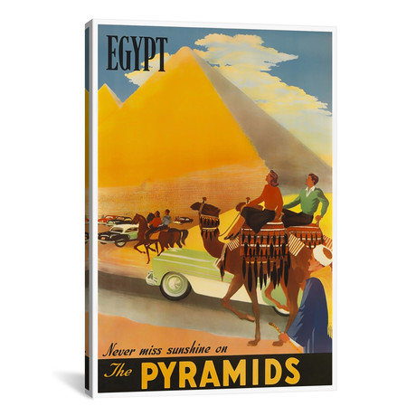 "Egypt: Never Miss Sunshine On The Pyramids // Unknown Artist (12""W x 18""H x 0.75""D)"