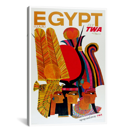 "Egypt - Fly TWA // Unknown Artist (12""W x 18""H x 0.75""D)"