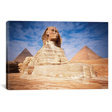 "The Great Sphinx Chefren & Cheops Pyramids At Giza, Egypt // Vintage Images (18""W x 12""H x 0.75""D)"