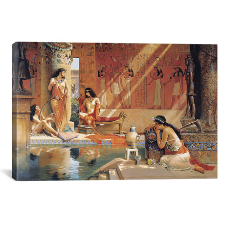 """Egyptian Bathers // Maher Morcos (18""""W x 12""""H x 0.75""""D)"""