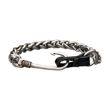 Antiqued Finish Hook Chain Bracelet // Steel