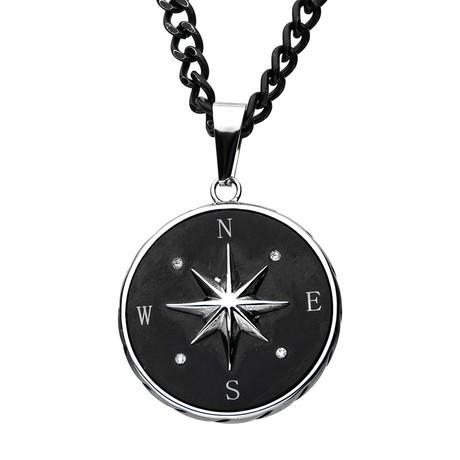 Compass Pendant + Chain // Black
