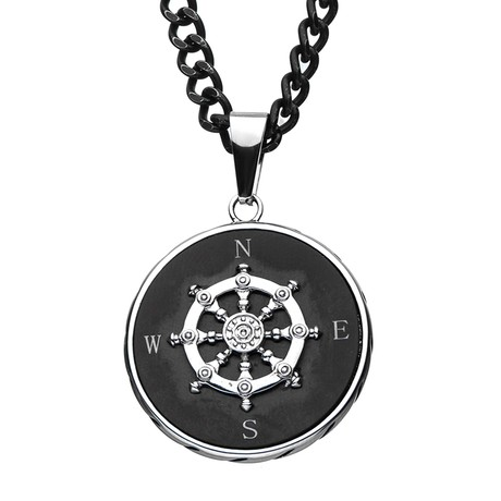 Ship's Wheel Compass Pendant + Chain // Black