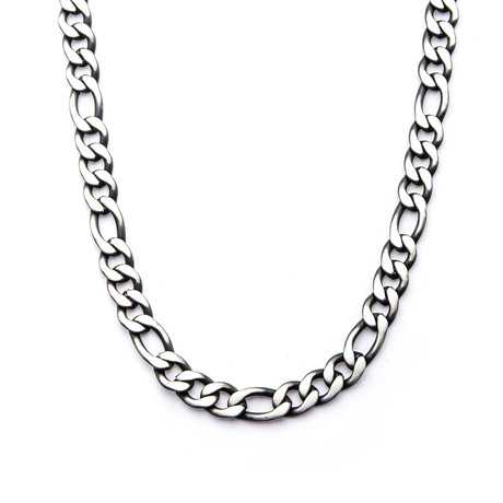 Black Plated Figaro Chain Necklace