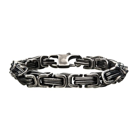 Stainless Steel + Antiqued Finish Byzantine Link + Chain Bracelet