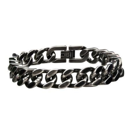 Stainless Steel + Antiqued Finish Diamond Cut Link + Chain Bracelet I