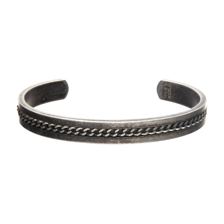 Stainless Steel + Antiqued Finish Cuff Bangle Bracelet + Curb Chain Design