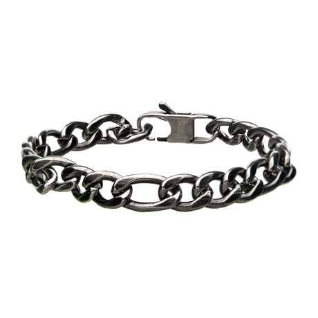 Stainless Steel + Antiqued Finish Figaro Link + Chain Bracelet