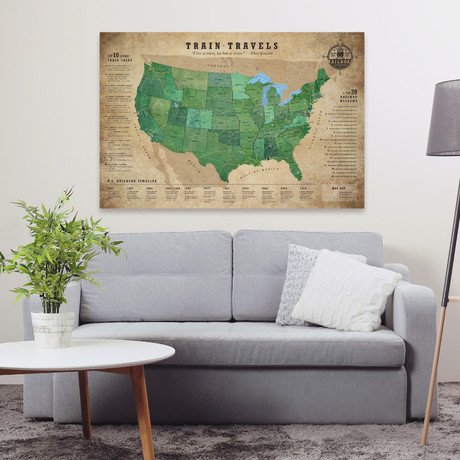 "Classic Railroad Canvas Map (40""W x 30""H)"