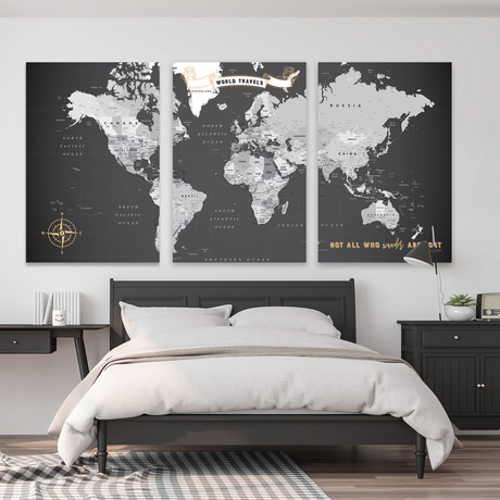 "Detailed Canvas Push Pin World Map // 3 Panels (60""W x 30""H)"