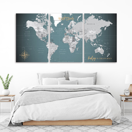 "Canvas Push Pin World Map // 3 Panels  (60""W x 30""H)"