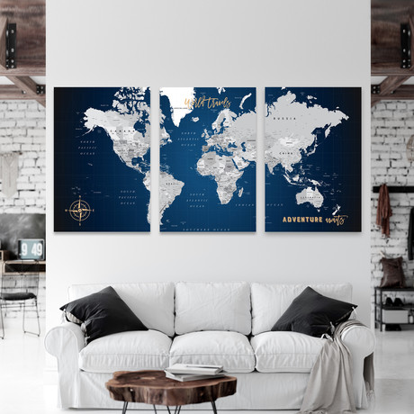 "Detailed Canvas Push Pin World Map // 3 Panels // Navy  (60""W x 30""H)"