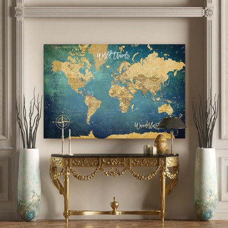 "Modern Canvas Push Pin World Map // Blue (40""W x 30""H)"