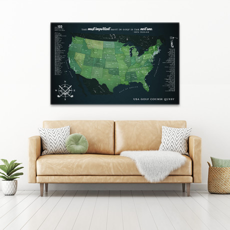 "Modern Golf Canvas Map (40""W x 30""H)"