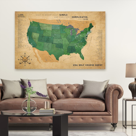 "Classic Golf Canvas Map (40""W x 30""H)"