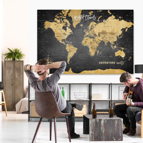 "Canvas Push Pin World Map // Black (40""W x 30""H)"