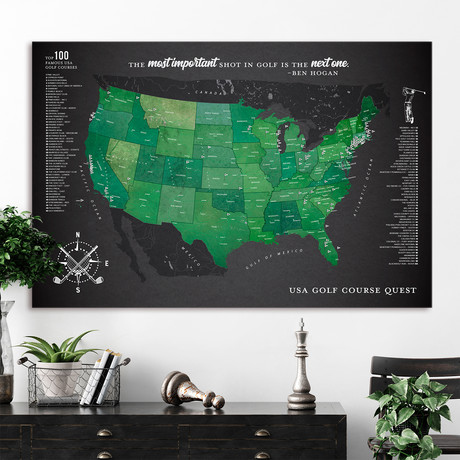 "Modern Golf Canvas Map // Grey (40""W x 30""H)"