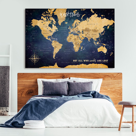 "Antique Canvas Push Pin World Map (40""W x 30""H)"