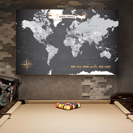 "Modern Canvas Push Pin World Map (40""W x 30""H)"