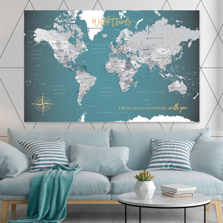 "Canvas Push Pin World Map (40""W x 30""H)"