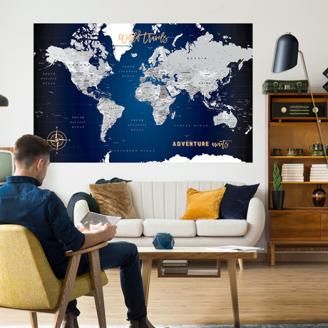 "Classic Canvas Push Pin World Map // Navy (40""W x 30""H)"