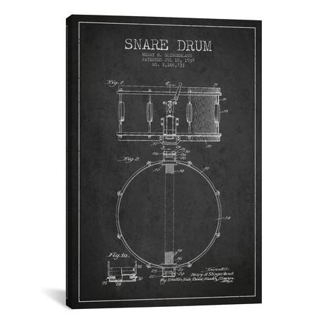 """Drum Charcoal Patent Blueprint // Aged Pixel (26""""W x 40""""H x 1.5""""D)"""