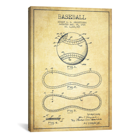 "Baseball Vintage Patent Blueprint // Aged Pixel (26""W x 40""H x 1.5""D)"