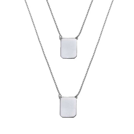 Box Chain Scapular Necklace (White)