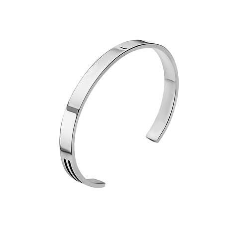 Black Onyx Bars Cuff Bracelet // Silver (M)