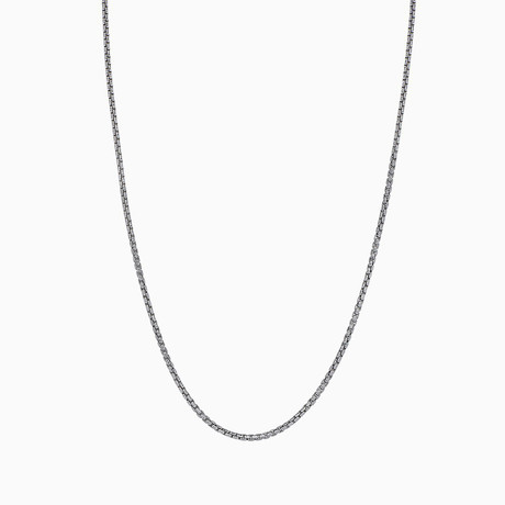 "Sterling Silver + 14K Gold Plated Round Box Chain Necklace // 2mm // White (20"")"