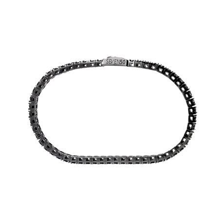 "Sterling Silver + 18K Gold Plated Round Tennis Bracelet // 2.5mm // Black + Silver (6.5"")"