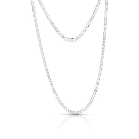 "Sterling Silver + 14K Yellow Plated Curb Chain Necklace // 4mm // White (20"")"