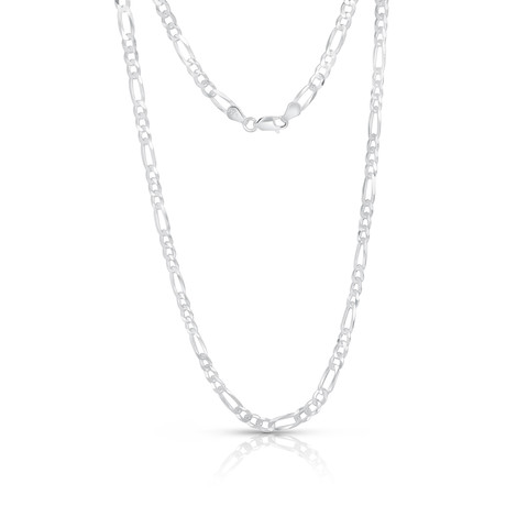 "Sterling Silver + 14K Gold Plated Figaro Chain Necklace // 4mm // White (20"")"