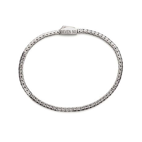 Sterling Silver + 18K Gold Plated Tennis Bracelet // 2.5mm // Black + White