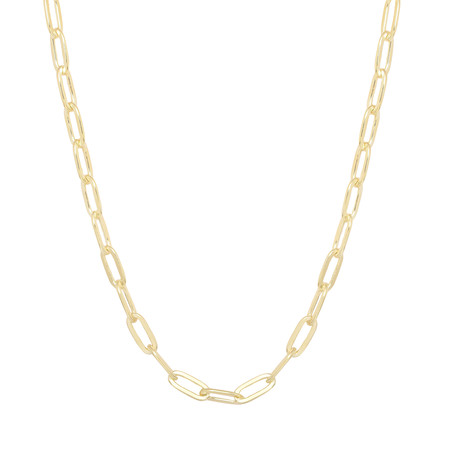 "Sterling Silver + 14K Gold Plated Paper Clip Chain Necklace // Yellow (20"")"